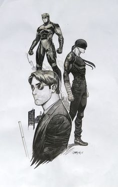 Dan Mora Daredevil Triple Character Daredevil Painted Sketch