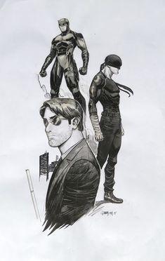 Dan Mora Daredevil Triple Character Daredevil Painted Sketch