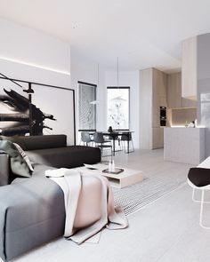 Roohome.com - Having?stylish apartment interior design will make you very happy and enthusiasm. It ?does not only make you feel comfortable but also that is the best welcoming for your friend or partner. This room is applying black and white color paint. It looks so elegant and does not make ...