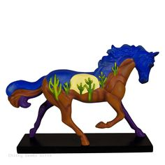 Enesco Trail of Painted Ponies Sundown to Moonrise Figurine MPN: 4053786 ARTIST: John Geryak CONDITION: New DATE INTRODUCED: 4/1/2016 SIZE: 6.5 in H x 2.5 in W x 8.3 in L MATERIAL: Stone Resin, Brass