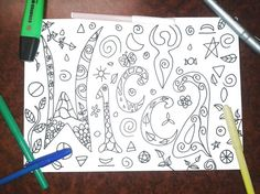 wicca coloring book adult wiccan whimsical by LaSoffittaDiSte