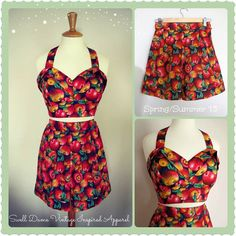 Swell Dame women 2 piece set  playsuit high waisted shorts & bustier top with apples novelty print / Made to measure on Etsy, $96.05