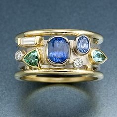 Memory Ring in Blues and Greens