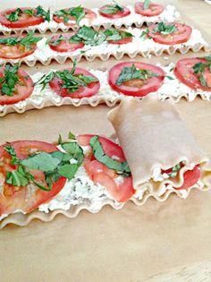 Plum Tomato & Basil Lasagna Roll Ups