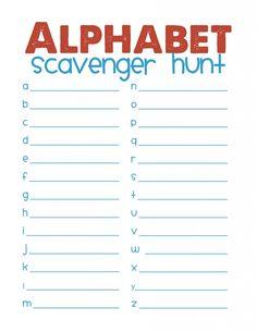 Alphabet scavenger hunt free printable (blue)