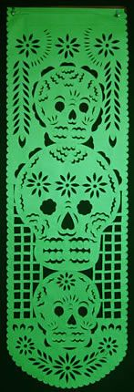 These mutli-colored, hand-cut banners have me re-thinking my usual black and orange Halloween color theme . . . Papel Picado Banner for el Dia de los Muertos via Mexican Sugar Skull
