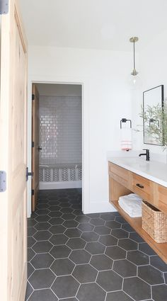 Looking for for pictures for farmhouse bathroom? Check this out for perfect farmhouse bathroom pictures. This particular farmhouse bathroom ideas seems completely wonderful. Modern Farmhouse Bathroom, Modern Bathroom Design, Bathroom Floor Tiles, Bathroom Remodel Master, Shower Remodel, Tile Bathroom, Hill Interiors, Bathroom Renovations, Bathroom Design