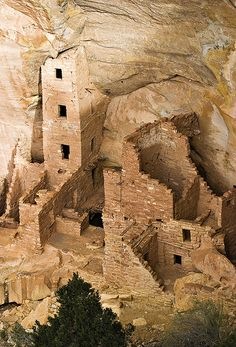 Square Tower House, Mesa Verde National Park, CO. The tower that gives this site its name is the tallest structure in Mesa Verde. This cliff dwelling was occupied between AD 1200 and 1300.