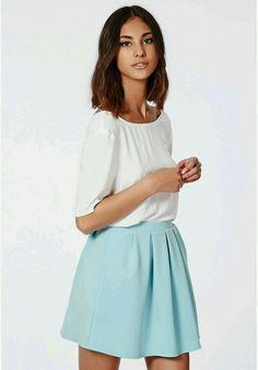 Cornelia Scuba Pleated Skater Skirt Powder Blue is on sale now for - 25 % ! b9b2bbb1c