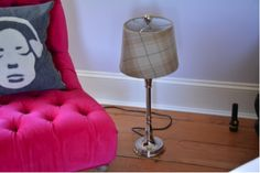 Beautiful tartan lamp on silver coloured base. -