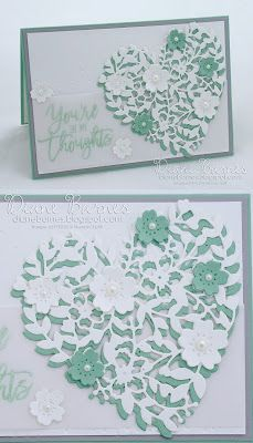handmade sympathy card using Stampin Up Bloomin Heart dies, Bloomin Love stamp s. handmade sympathy card using Stampin Up Bloomin Heart dies, Bloomin Love stamp set & Thoughtful Branches. By Di Barnes Stampin Up Karten, Karten Diy, Wedding Cards Handmade, Greeting Cards Handmade, Engagement Cards, Stamping Up Cards, Get Well Cards, Heart Cards, Love Cards