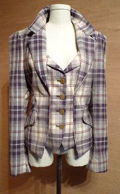 Vivienne Westwood Red Label Tartan Check Plaid Waistcoat Blazer Jacket