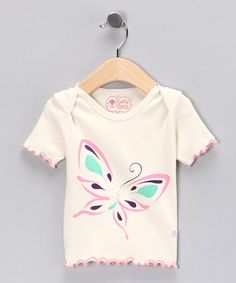 Take a look at this Natural Butterfly Tee - Infant by RuffleButts on #zulily today!