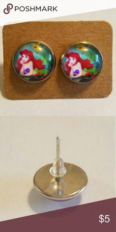 #3 The Little Mermaid Ariel Earrings 12mm  Hypoallergenic stainless steel  Hypoallergenic plastic ear backs Jewelry Earrings
