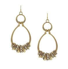 Product: Jessica Simpson Goldtone Oval Drop Hoop Earrings with Spacers - Carson's $30