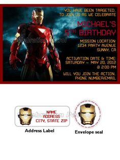 Iron Man Birthday Custom Invitations w/address labels and envelope seal. $14.00, via Etsy.