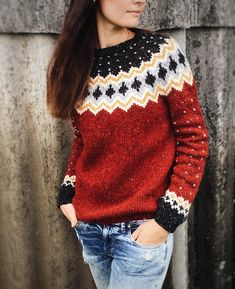 Women Knitted Stretchy Vintage Sweaters Type:Long SleeveElasticity:StretchyMaterial:Cotton,KnittedNeckline:Round NeckOccasion:Going Vintage Sweaters, Red Sweaters, Sweaters For Women, Cardigans, Mode Crochet, Knit Crochet, Icelandic Sweaters, Fair Isle Knitting, Pulls