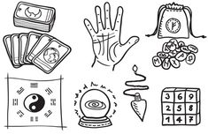 Illustration of various types of fortune telling - hand drawn illustration vector art, clipart and stock vectors. Fortune Teller Game, I Ching, Fortune Telling, Psychic Abilities, Hand Illustration, The Magicians, How To Draw Hands, Clip Art, Fan Art