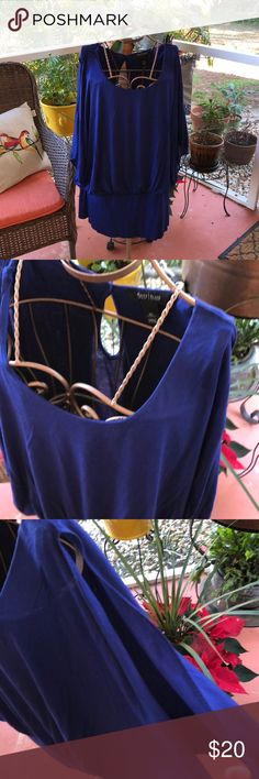 NEW! WHBM Flutter Sleeve top Stunning royal blue top. I took the tags off to wear it on a cruise and ended up not wearing it.  It's amazing Witt white jeans, crops or shorts. Brand new White House Black Market Tops