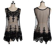 Black Plain Sleeveless Lace Vest - Vests - Tops