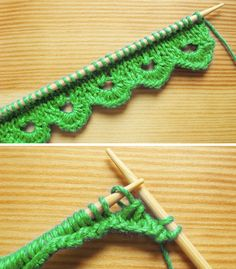 Scalloped Knitting Edge Stitch - Tutorial Always aspired to be able to knit, however not sure where to start? This kind of Absolute Beginner Knitting Sequence is . Knitting Stitches, Knitting Patterns Free, Knit Patterns, Free Knitting, Baby Knitting, Yarn Projects, Knitting Projects, Crochet Projects, Knit Edge