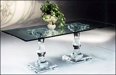 You'll absolutely love this wonderful Corinthian Double Pedestal Acrylic Dining Table. Part of the Art & Home Dining Tables collection, it will undeniably make a fantastic addition to your home. Bar Height Dining Table, Double Pedestal Dining Table, Trestle Dining Tables, Glass Dining Table, Solid Wood Dining Table, Modern Dining Table, Dining Table In Kitchen, Dining Rooms, Acrylic Furniture