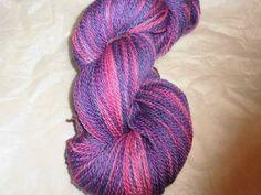 Luxury Hand Dyed Bluefaced Leister Wool Sock Yarn, 2-ply Sweet Roses  by SussesSpindehjrne for $25.00