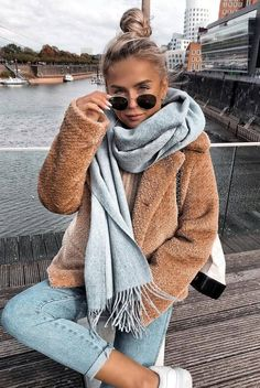cozy winter outfit idea to try right now_scarf + nude jacket + jeans + bag + sne. - Winter Outfits - - cozy winter outfit idea to try right now_scarf + nude jacket + jeans + bag + sne… – Source by Cozy Winter Outfits, Winter Outfits Women, Winter Fashion Outfits, Fall Outfits, Winter Clothes, Outfit Winter, Winter Wear, Night Outfits, Winter Dresses