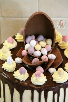 Vanilla Cakes layered with Vanilla Frosting, a Dark Chocolate Ganache Drip, & packed full of Mini Eggs – The perfect Easter Showstopper! I posted a...