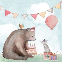 Pictures and Quotes Birthday - Solo Imagenes Bear Birthday, Animal Birthday, 21 Birthday, Birthday Pictures, Birthday Images, Birthday Quotes, Birthday Highchair, Bear Illustration, Happy Birthday Greetings