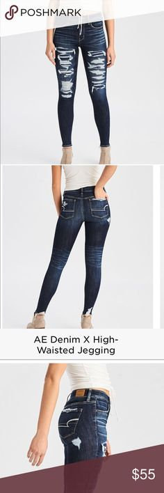 AE High Waist Jeggings Like New! Only worn once. Size 4 Regular. Paid $69.95 plus taxes. American Eagle Outfitters Jeans Skinny