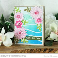 Stamps: All About Mom, Bold Blossoms  Die-namics: Bold Blossoms, Essential Fishtail Sentiment Strips, Snow Drifts Cover-Up    Rachel Alvarado  #mftstamps