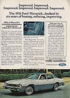 Vintage Ad 1976 Ford Maverick Two Tone Blue White Automobile Classic Ford Car