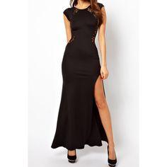 Sexy Women's Lace Stitching Bag-hip Slim Dress, BLACK, S in Maxi Dresses | DressLily.com