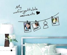 Concise Clothesline Design Picture Frame Kids Wall Sticker