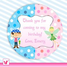 Printable Personalized Cute Pirate Pixie Fairy Thank You Tag - Pink Dots Birthday Boy Sibling Brother and Sister Labels Birthday Party