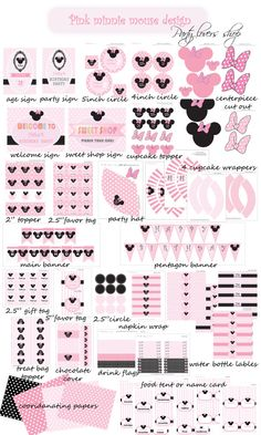 Invitation included light pink Minnie mouse party printable party printable - party lovers shop on Etsy, $24.99