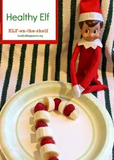 Elf on the Shelf - Healthy Fruit Candy Cane Snack