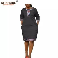 Online Shop 2019 summer women dress african print AFRIPRIDE tailor made half sleeve knee length casual pencil batik dress for women African Attire, African Wear, African Dress, Latest African Fashion Dresses, African Print Fashion, African Prints, South African Traditional Dresses, Pretty Black Dresses, Batik Dress