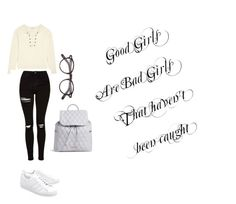 """""""Good girls are bad girls..."""" by live-free9 ❤ liked on Polyvore featuring Madewell, Topshop, adidas Originals, Moscot and Vera Bradley"""