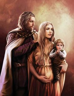 """King Jaehaerys I, Good Queen Alysanne with their son, Prince Aemon"" by Magali Villeneuve"