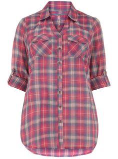 Evans Pink Check Shirt - #plus size -- I'm a sucker for a plaid shirt