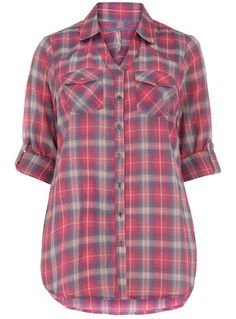 Evans Pink Check Shirt - #plus size -- I'm a sucker for a plaid shirt