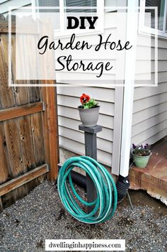 A blogger buys a single 2x4 at Home Depot. Using utility hooks she makes THIS! & Hose Holder for the Garden DIY | Out in the Yard | Pinterest | Water ...
