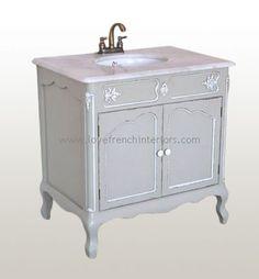 Antique white shabby chic french bathroom vanity unit sink drawers