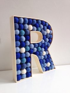 Felt ball filled Wooden Letter R. Free Standing Letters. Monogrammed Initial. Decorative letter.