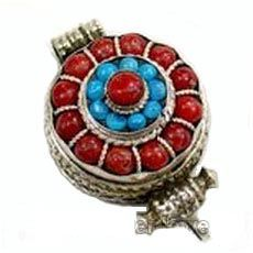 Antique tibetan round coral and turquoise gau amulet box this handmade tibetan red coral ghau prayer box stirling silver pendant is handcrafted by the tibetan aloadofball Image collections