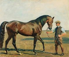 Lord Derby's Fairway Held by Cain, His Groom - Sir Alfred Munnings Alfred Munnings, Horse Posters, Horse Silhouette, Horse Portrait, Vintage Horse, Historical Art, Vintage Artwork, Equine Art, Horse Pictures