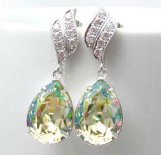 Yellow Green Earrings Swarovski Crystal Luminous Green Earrings Cubic Zirconia Sterling Silver Bridesmaid Gift Light Green Tender shoots