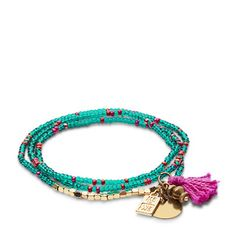 WE Fashion Rafiki Wrap Bracelet, Black Jasper